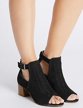 Leather Block Heel Peep Shoe Boots, BLACK, catlanding