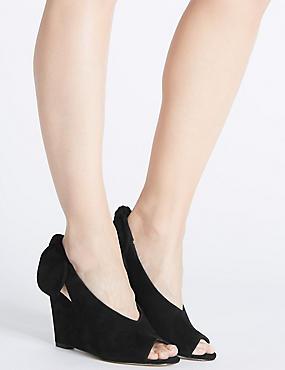 Sandales en cuir à talons compensés, ornées d'un noeud arrière, NOIR, catlanding