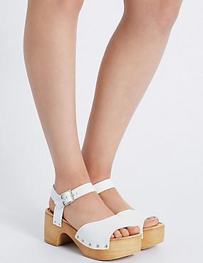 Leather Flatform Heel Clog Sandals, WHITE, catlanding
