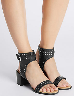 Leather Block Heel Stud Sandals, BLACK, catlanding