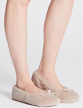 Faux Fur Ballerina Slippers, DUSKY PINK, catlanding