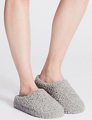 Curly Fur Mule Slippers, GREY, catlanding