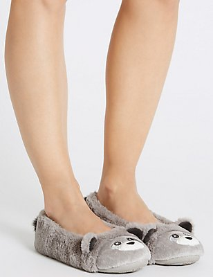 Pull On Racoon Ballerina Slippers, GREY MIX, catlanding