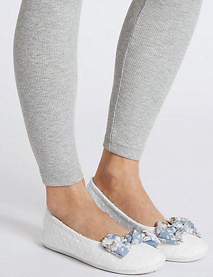 Bow Ballerina Slippers, WHITE, catlanding