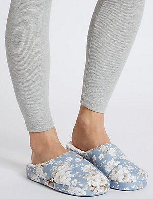 Floral Print Mule Slippers, BLUE MIX, catlanding