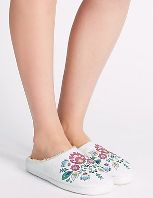 Printed Cross Stitch Mule Slippers, WHITE MIX, catlanding
