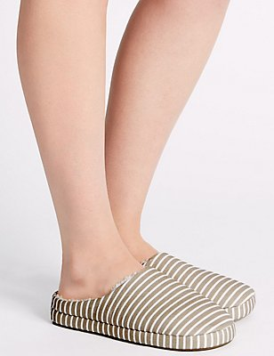 Striped Mule Slippers, NATURAL MIX, catlanding