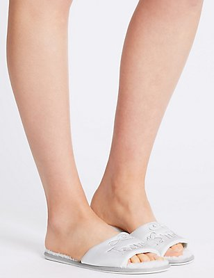 Team Bride Open Toe Mule Slipper, WHITE, catlanding