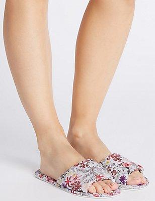 Floral Print Mule Slippers, MULTI/BRIGHTS, catlanding