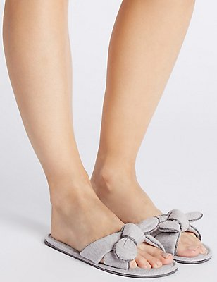 Bow Mule Slippers, GREY MARL, catlanding