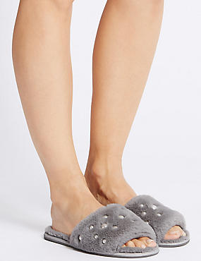 Pearl Detail Fur Mule Slippers, GREY, catlanding