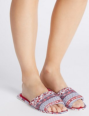 Floral Stripe Flatty Mule Slippers, RED MIX, catlanding
