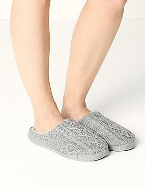 Cable Knit Mule Slippers, GREY, catlanding
