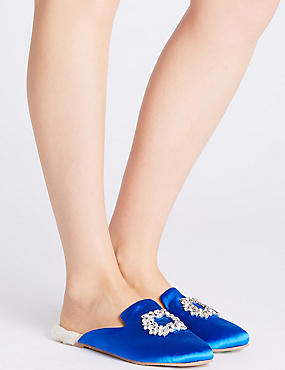 Jewelled Mule Slippers, COBALT, catlanding