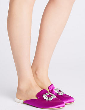 Jewelled Mule Slippers, MAGENTA, catlanding