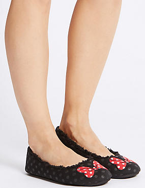 Minnie Bow Ballerina Slippers, BLACK MIX, catlanding