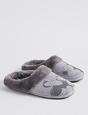 Minnie Mouse Print Mule Slippers, GREY, catlanding