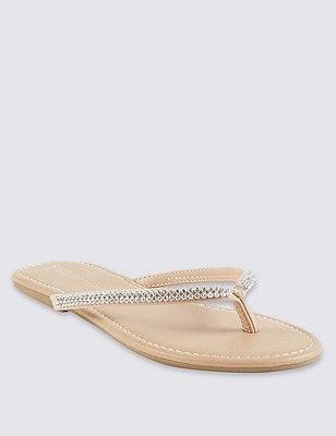 Skinny slippers met glittersteentjes, HUIDKLEUR, catlanding