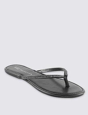 Skinny Diamanté Flip-Flops, BLACK, catlanding