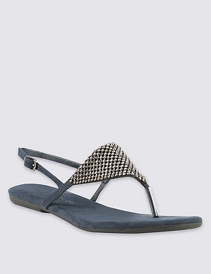 Diamanté Chain Mail Sandals, NAVY, catlanding