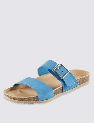 Stain Away™ Suede Two Band Sandals, COBALT, catlanding