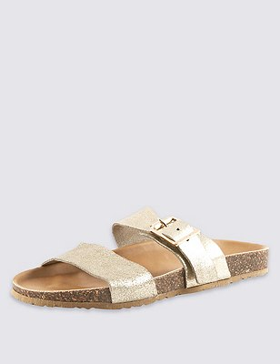 Stain Away™ Suede Two Band Sandals, GOLD, catlanding