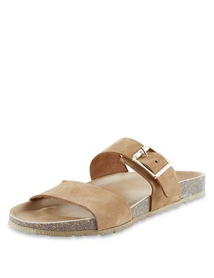 Stain Away™ Suede Two Band Sandals, TAN, catlanding