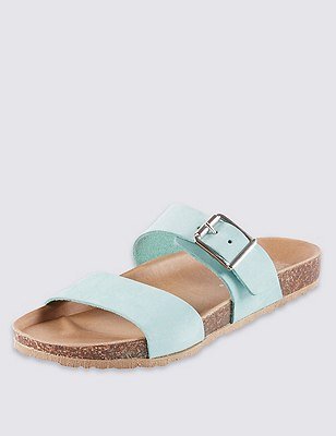 Stain Away™ Suede Two Band Sandals, MINT, catlanding