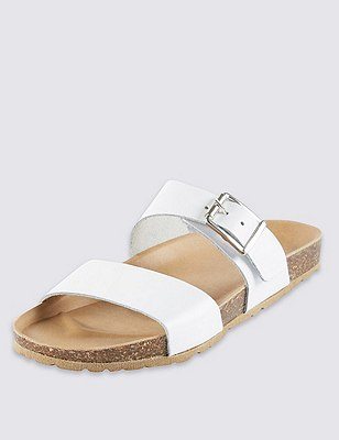 Leather Two Band Sandals, WHITE, catlanding