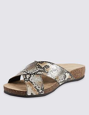 Faux Snakeskin Sandals, NATURAL MIX, catlanding