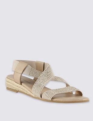 Elastic Strap Sparkle Sandal, NATURAL MIX, catlanding