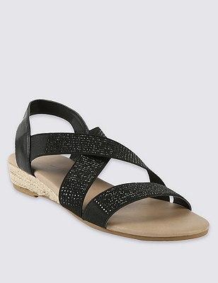 Elastic Strap Sparkle Sandal, BLACK, catlanding