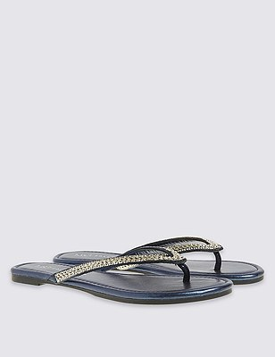 Bling Toe Flip-Flops, MIDNIGHT, catlanding