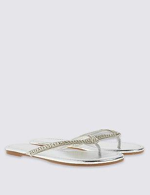 Covered Twinkle Toe Flip-Flops, SILVER, catlanding