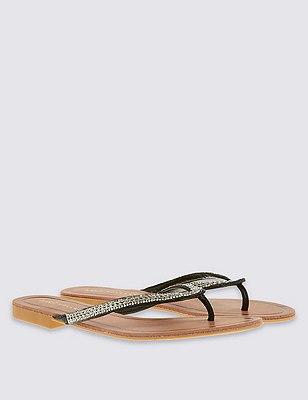 Bling Toe Flip-Flops, BLACK, catlanding