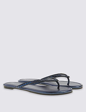 Bling Mirror Toe Thong Flip-Flops, MIDNIGHT, catlanding