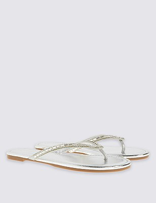 Bling Mirror Toe Thong Flip-Flops, SILVER, catlanding
