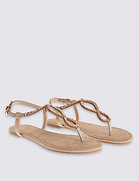 Twisted Toe Thong Sandals, NEUTRAL, catlanding