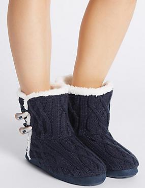 Slipper-Stiefel mit Zopfmuster, MARINEBLAU, catlanding