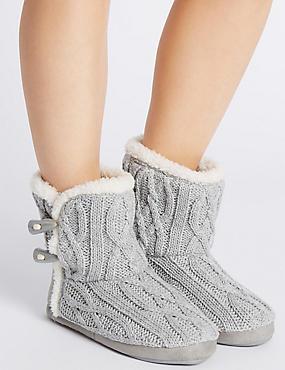 Slipper-Stiefel mit Zopfmuster, GRAU, catlanding