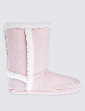 Faux Fur Lined Slipper Boots, PINK, catlanding