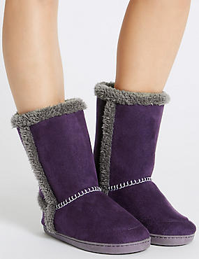 Faux Fur Lined Slipper Boots, PURPLE, catlanding