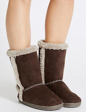 Faux Fur Lined Slipper Boots, CHOCOLATE, catlanding