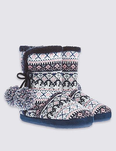 Pull On Fairisle Slipper Boots | M&S