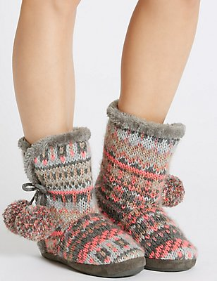 Pull On Fairisle Slipper Boots, CHARCOAL MIX, catlanding