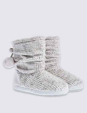 Pull On Snuggle Slipper Boots, GREY, catlanding