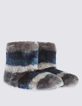 Flat Heel Striped Faux Fur Slippers, BLUE MIX, catlanding