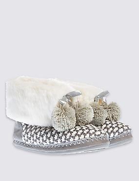 Geo Knitted Slipper Boots, GREY MIX, catlanding
