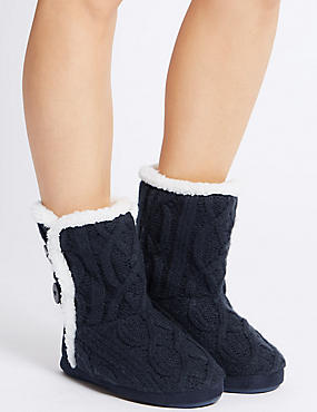 Cable Knit Slipper Boots, NAVY, catlanding
