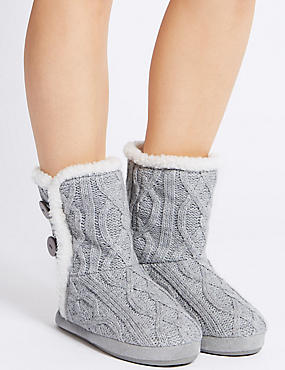 Cable Knit Slipper Boots, GREY, catlanding